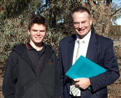 Belconnen Year 9 student Joss Kirk with ACT Chief Minister Jon Stanhope