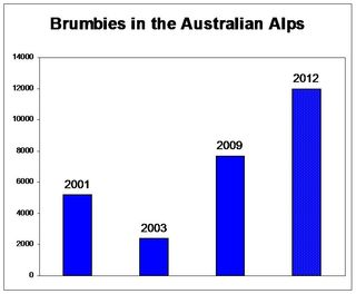 Brumby numbers in the Australian alps, data supplied by David Darlington of NSW NPWS. Data for 2003 is post-bushfire and for 2012 a predicted value is included.
